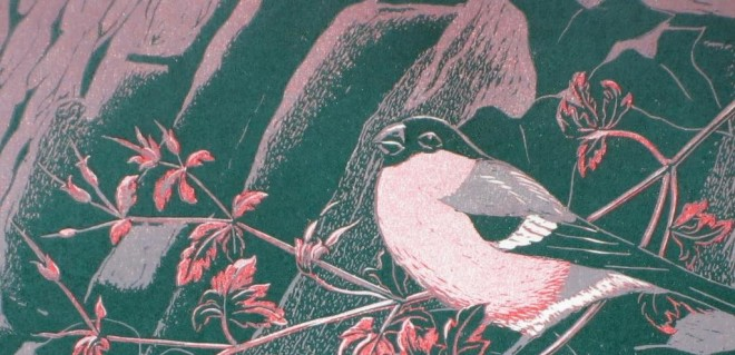 Christine Howes: 'Bullfinches' (detail), linocut print