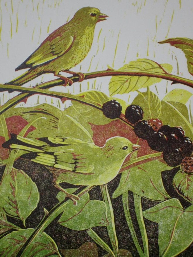 Christine Howes: 'The Greenfinches' (detail), linocut print