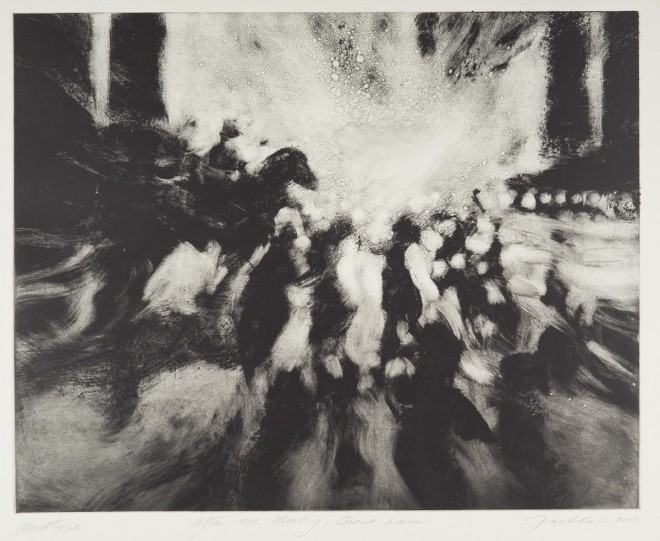 Bill Jacklin RA: 'After the Meeting, Great Lawn II', Monotype, 2000