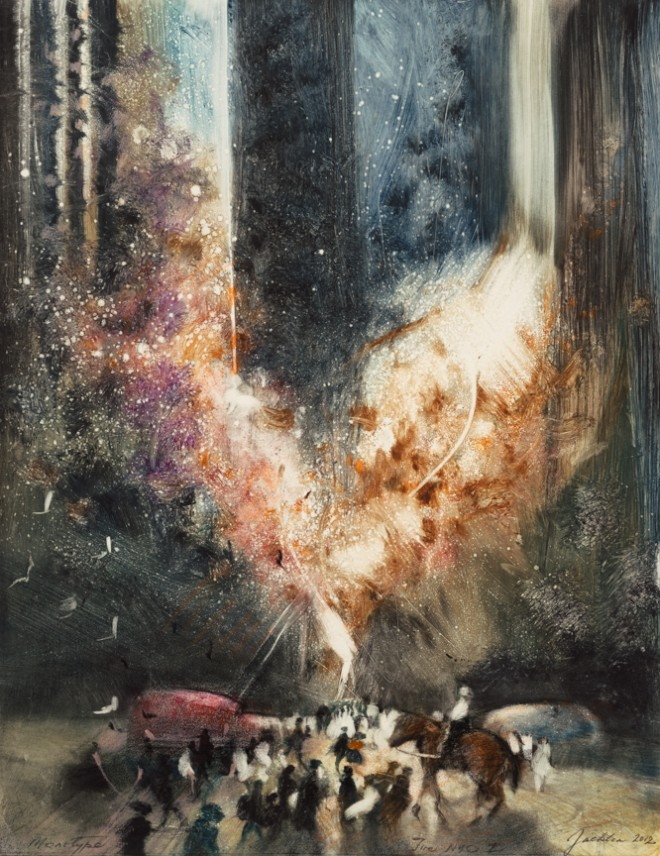 Bill Jacklin RA: 'Fire New York City I', monotype, 2012