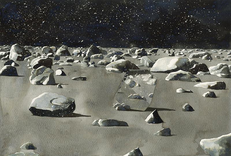 Nostalgia of Light III (2015) by Antonia Bañados. Ink on paper, 38 x 26 cm