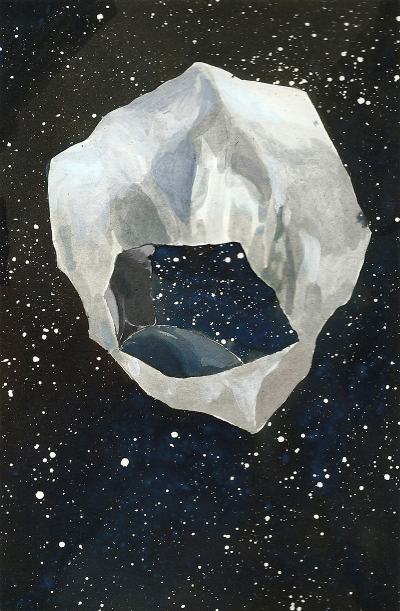 Two Cosmos (2013) by Antonia Bañados. Ink and gouache on paper, 21 x 15 cm