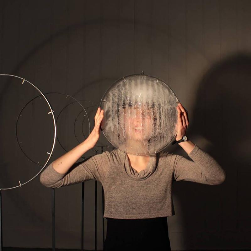 Portrait of Antonia Bañados with an ice installation, 2015. Photo Jonelle Mannion