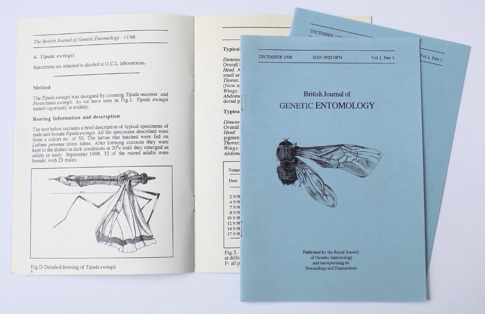 British Journal of Genetic Entomology Artist book 15cm x 21cm 1998 Natalie McIntyre
