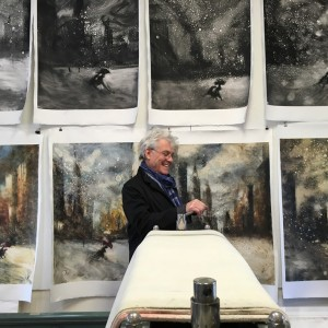 Bill Jacklin RA at the Center for Contemporary Printmaking in Norwalk, Connecticut. Bill worked at the Centre for a week at the beginning of March 2016, producing a series of large monotypes