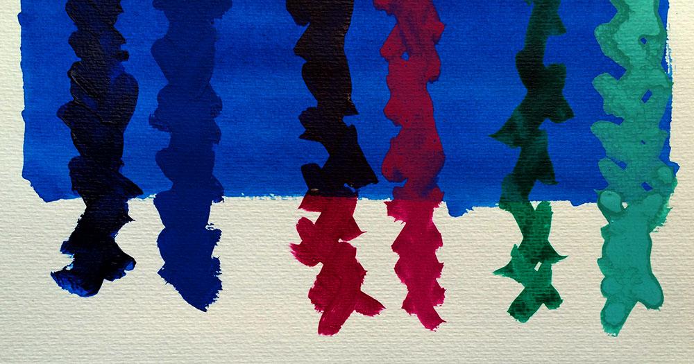 Blue is heavy body, right has opaque medium added. Magenta is fluid, right has opaque medium added. Green in ink, right has opaque medium added.