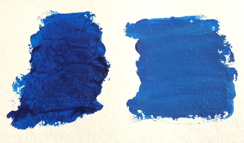 Heavy body Phthalo Blue, right with Opaque Medium.  There is a bit of lumpiness with the medium.