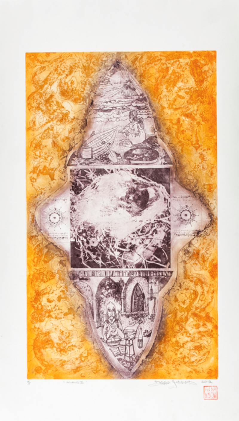 Animus II (Mandala) by Anna Johnson, 2012. Acrylic Resist Wet Ground Etching, Aquatint and Photopolymer on Hahnemühle Etching White 300gsm, 42cm x 67cm