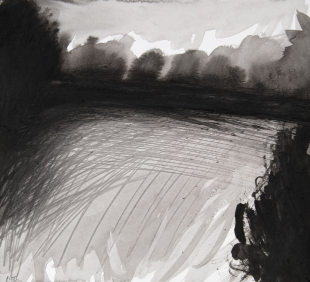 Jonathan Pitts: 'Morning, River Thames, Runnymede', Ink on paper, 25.5cm x 28cm