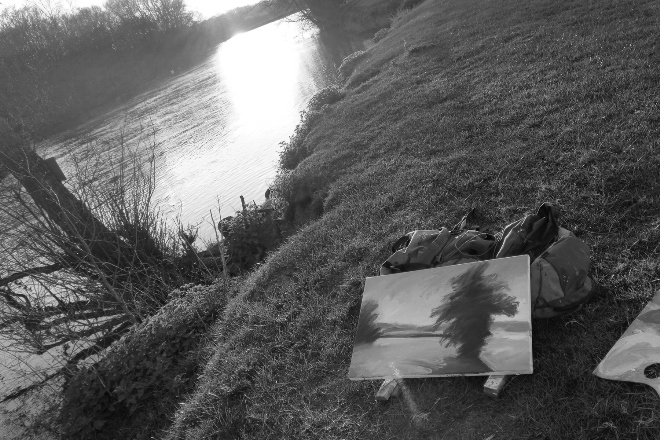 Work in Progress: Jonathan Pitts plein air painting on the River Thames