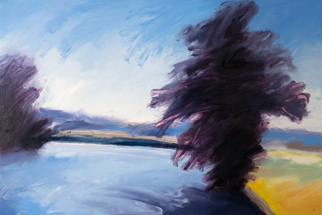 Jonathan Pitts: 'Morning, River Thames, Marlow', Oil on canvas, 40cm x 60cm