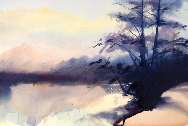 Jonathan Pitts: 'Sunset, River Thames, Marlow', Acrylic and watercolour on paper, 38cm x 57cm