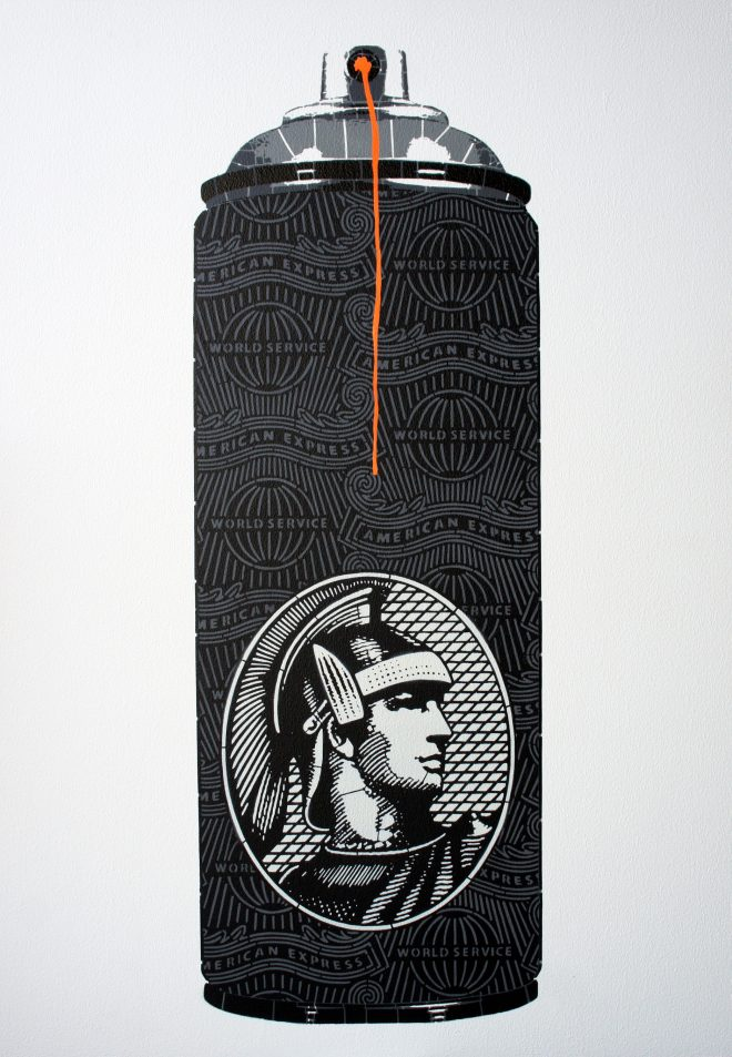 Campbell La Pun: 'Black Tank Small Island', Aerosol on Wood Panel, 72.8 x 103cm, Edition of 6, 2015