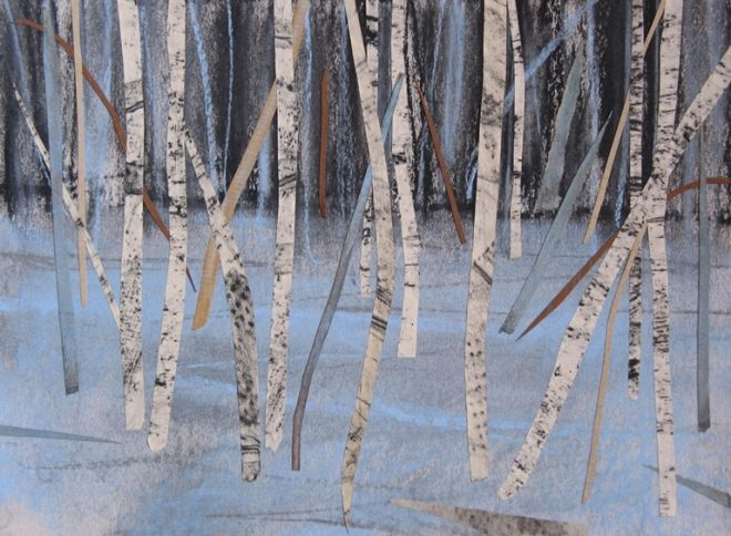 Janine Baldwin: 'Blue Forest', pastel and charcoal collage on card, 23 x 30cm