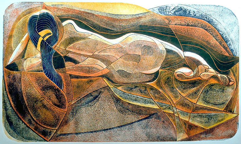 'Nude / Landscape' by Cedric Green, 3 etched and aquatinted zinc plates, proofed in 3 colours in relief on Saunders Waterford 180 gsm paper, 33 x 56 cm