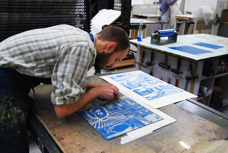 Edinburgh Printmakers-Matthew Simos working on the Relief