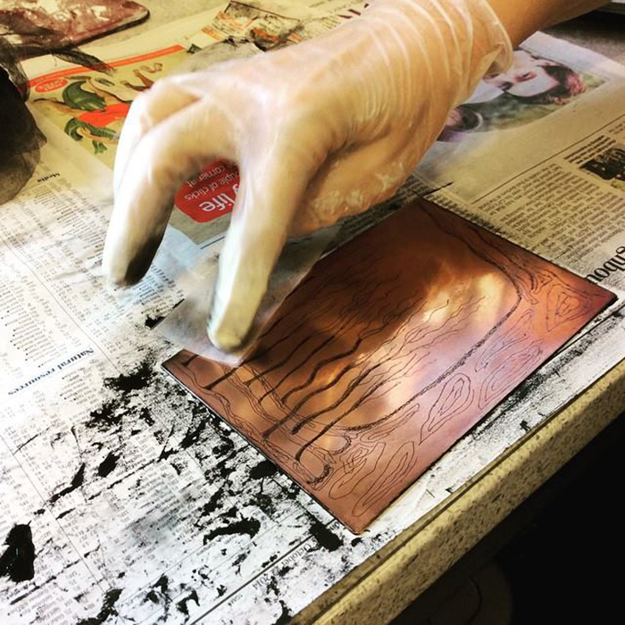 Emma's etching plate being inked up at Green Door Printmaking Studio, Derby.