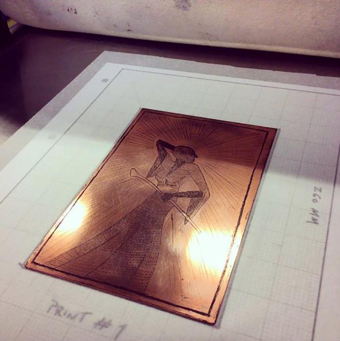 Michael Cowell's inked up etching at Green Door Printmaking Studio, Derby.