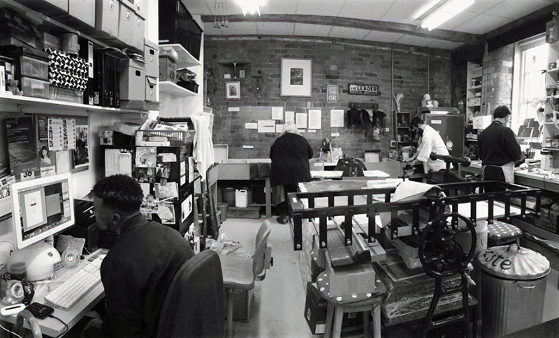 A view on Green Door Printmaking Studio, Derby.