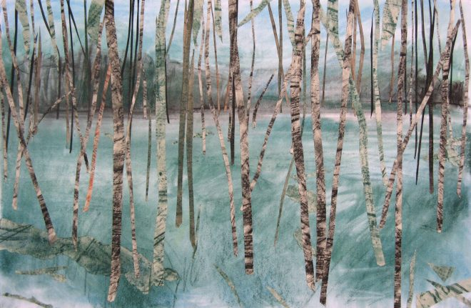 Janine Baldwin: 'Green Paradise', pastel and charcoal collage on card, 40x60cm