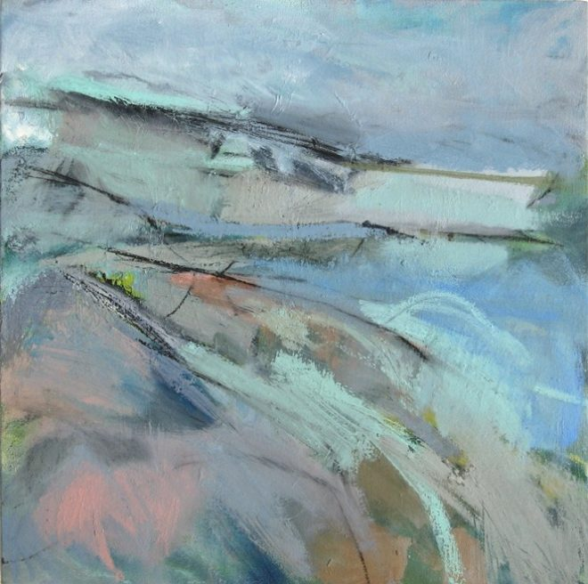 Janine Baldwin: 'Headland', oil and charcoal on canvas, 51 x 51cm