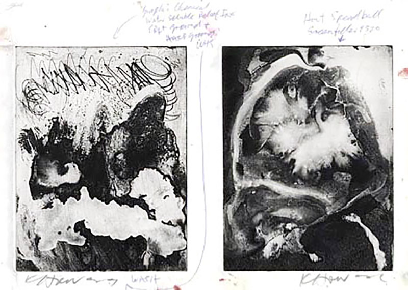 Prints by Keith Howard (1995) created using a range of acrylic wash or destruction ground effects from etched copper plates