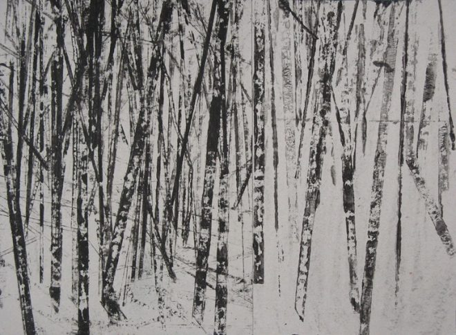 Janine Baldwin: 'Into the Forest', monoprint on card, 30 x 45cm