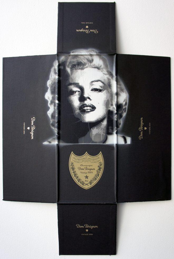 Campbell La Pun: 'Marilyn Dom Marilyn #1', Aerosol on 2004 Dom Perignon Magnum Packaging, 46.5 x 70.5cm, 2015