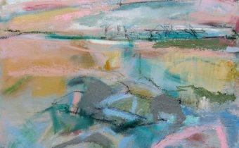 Janine Baldwin: 'Pebbles and Rocks, Cool Water', oil and charcoal on panel, 35 x 35cm