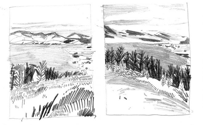 Jessamy Hawke: Preparatory pencil sketches for a landscape commission of Rostrevor, Northern Ireland