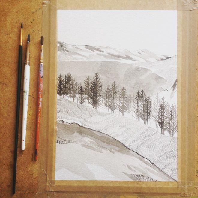 Jessamy Hawke: Work in progress of landscape commission of Rostrevor, Northern Ireland
