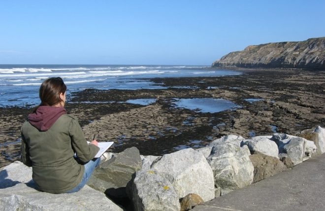 Janine Baldwin sketching at South Bay, Scarborough