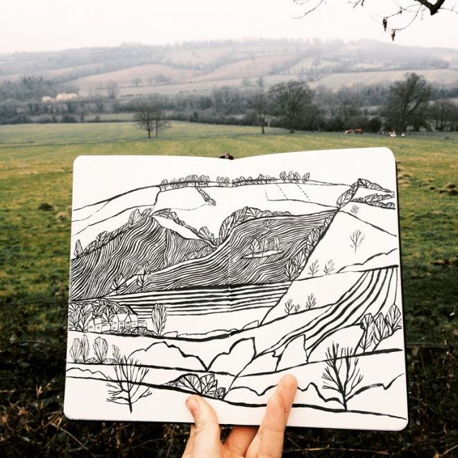 Jessamy Hawke: Drawing on site in the Langdale Valley, the Lake District, from Jessamy Hawke's 2016 travel sketchbooks