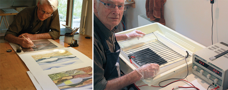 Left: Cedric Green at work on his prints in his studio. Right: Cedric Green with a galv-etch zinc plate.