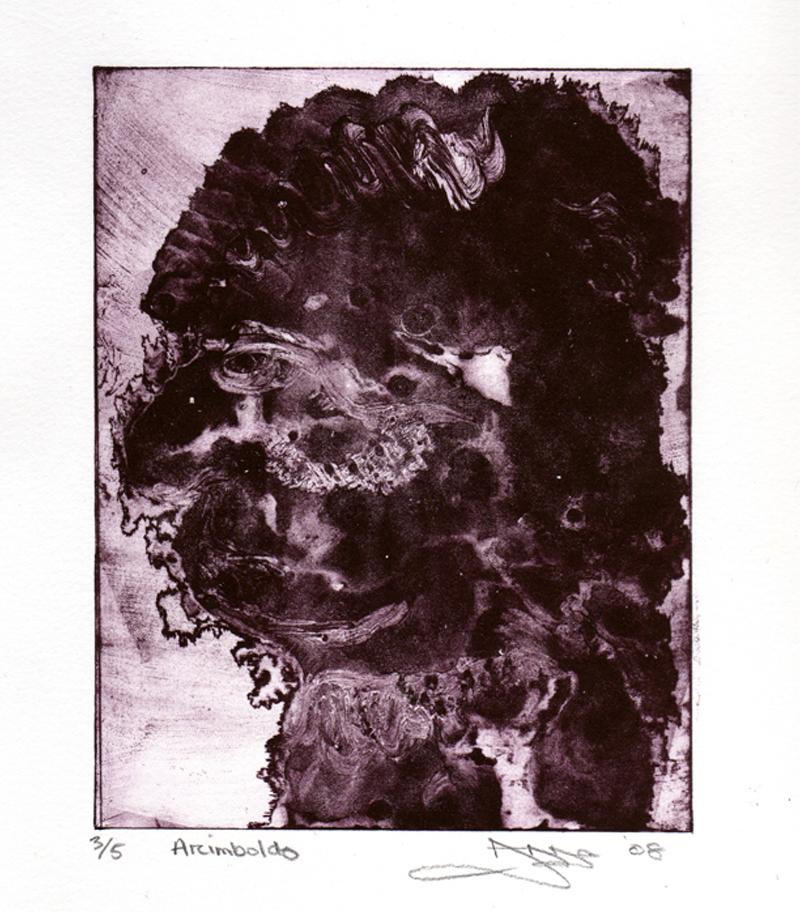 'Arcimboldo' by Anna Johnson. Waterless lithograph