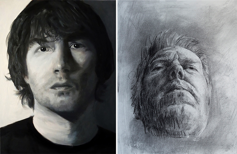 Left: Self Portrait by Connell McMenamin (2013) Oil on canvas. Right: Self Portrait by Mick McNicholas. Charcoal on paper