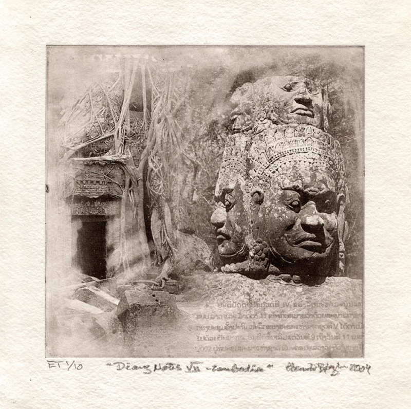 Intaglio Print by Henrik Boegh from the series 'Angkhor Diary Notes'. 20 x 20 cm.