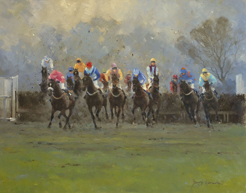 Oil - Dirty day at Duncombe Park-David Howell