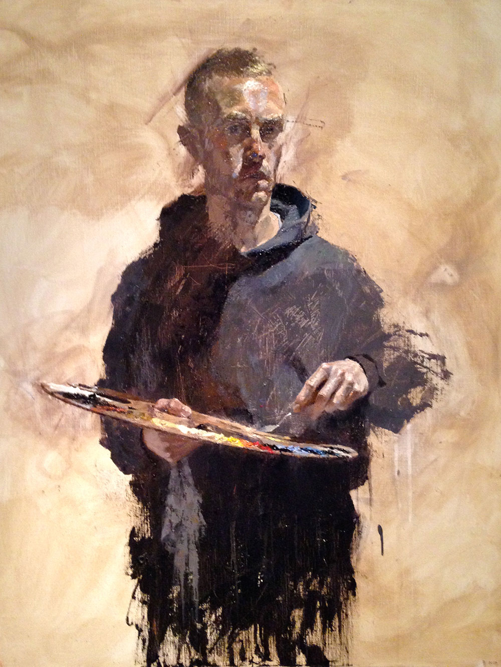 Self Portrait with Palette. 2014, oil on canvas, 73 x 92 cm Benjamin Hope