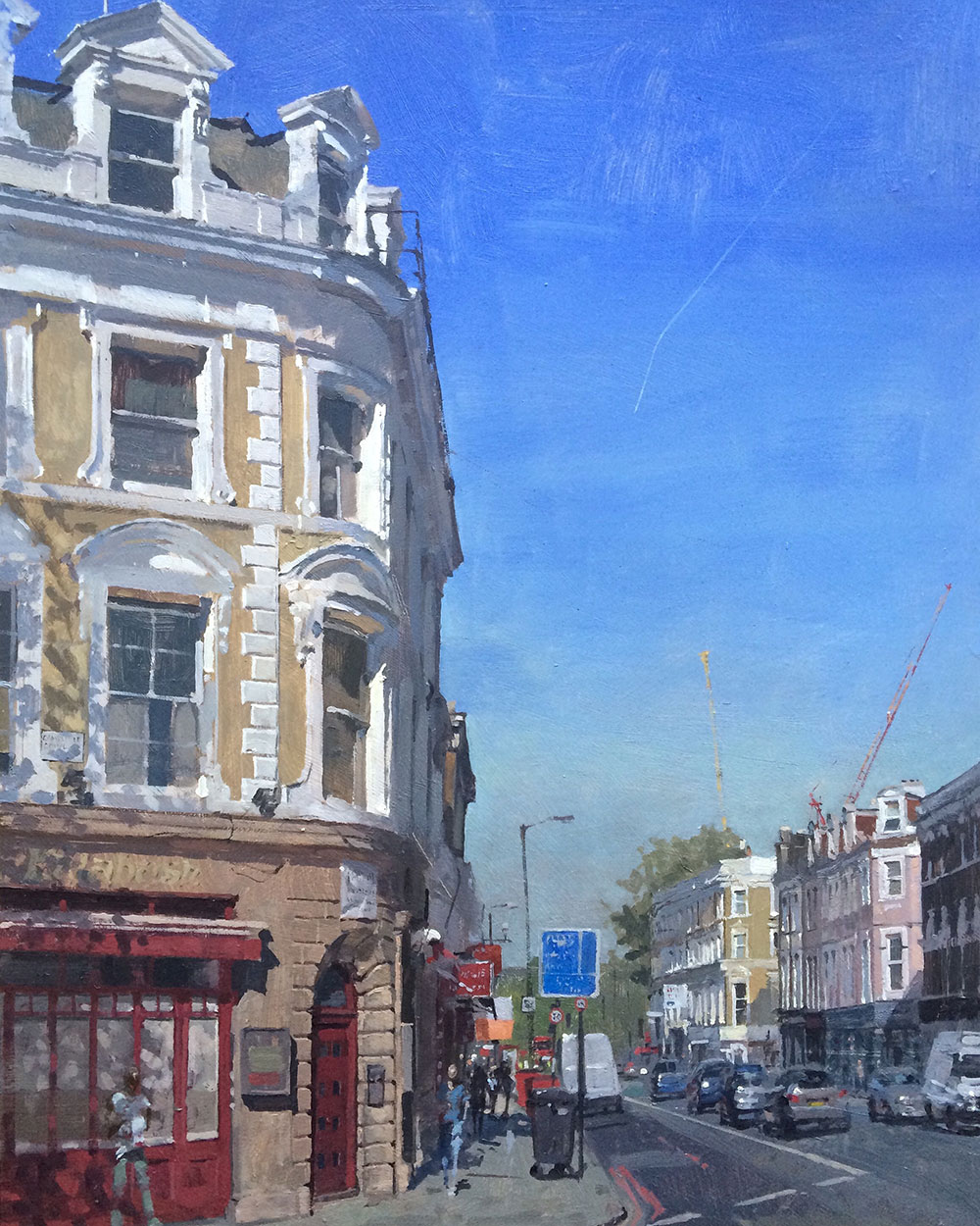 Bins and Blue Skies, Camberwell. 2016, oil on board, 30 x 40 cm Benjamin Hope