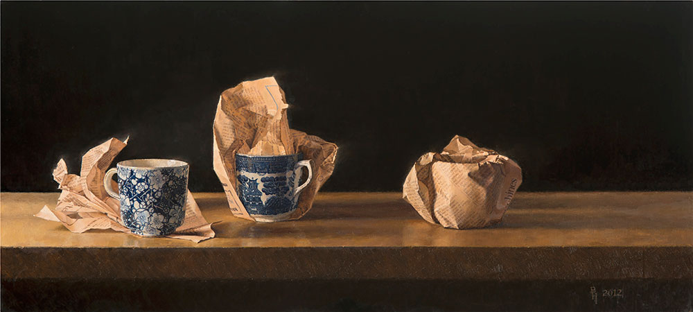 Teacups in the Financial Times. 2012, oil on canvas, 56 x 26 cm Benjamin Hope