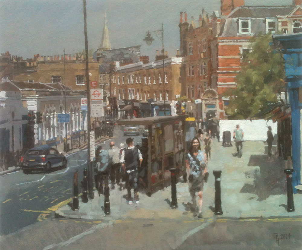 Late Morning at Bus Stop E, Blackheath Village. 2014, oil on board, 30 x 25 cm Benjamin Hope