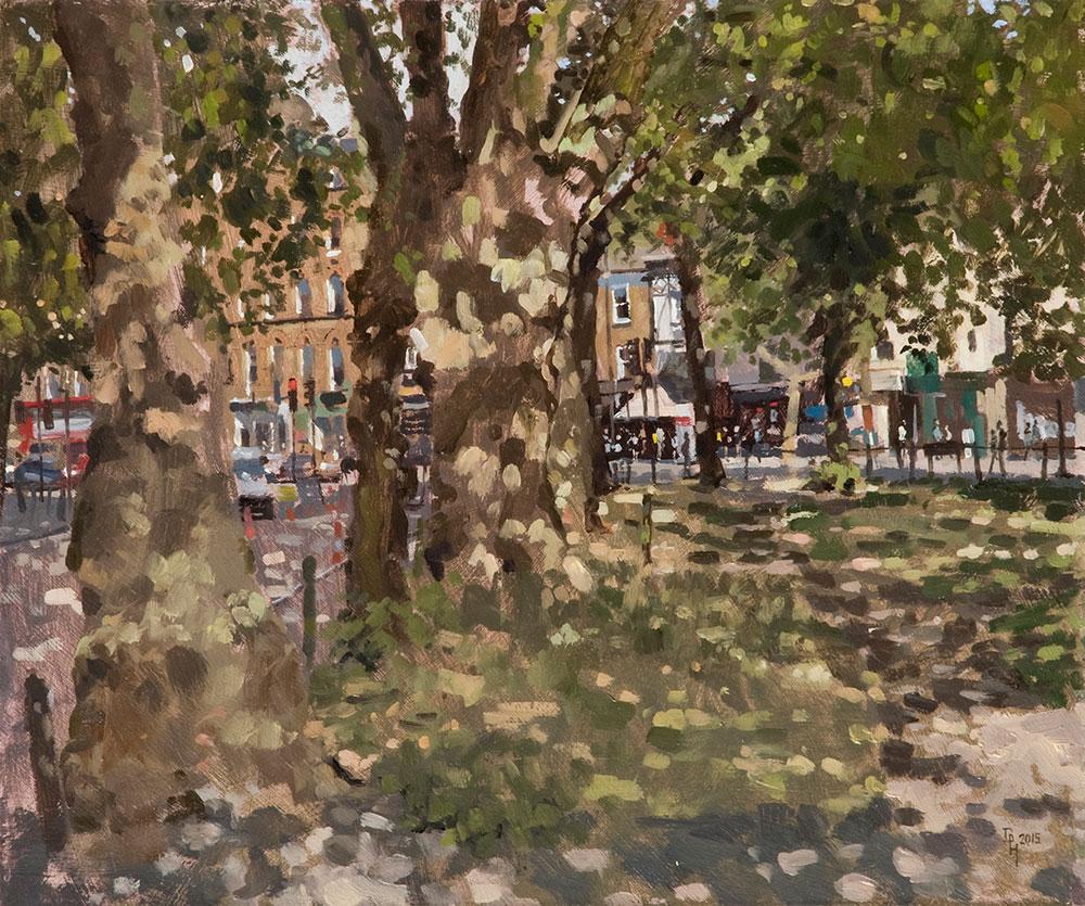 Clapham Common, East Corner. 2015, oil on board, 30 x 25 cm Benjamin Hope