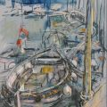 'Boats at Blakeney' by Susan Samsome, pastel, 31x2334in. (79x60cm)