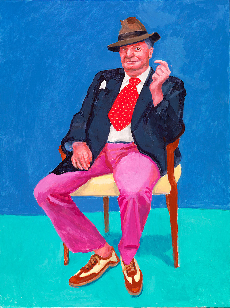 'Barry Humphries, 26th, 27th, 28th March 2015' by David Hockney. Acrylic on canvas, 48 x 36 inches