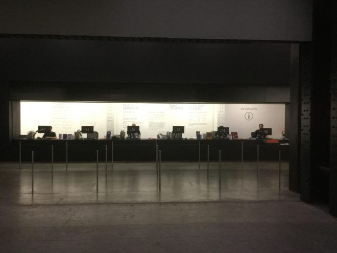 No One Cares About Real Art Anymore The Empty Ticket S Desk At Tate Modern