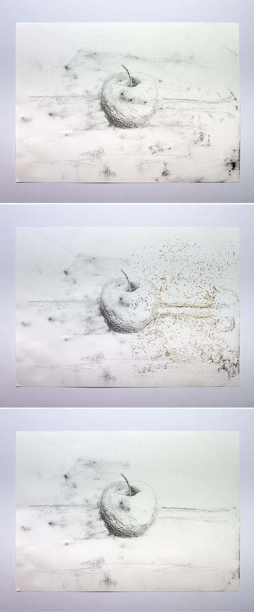 Image 1: drawing has been dirtied with charcoal smudges. Image 2: the Factis cleaning cushion eraser dust was sprinkled on and rubbed with a finger and it instantly turned black everywhere it is picking up the dirt. Image 3: the right side is now cleaned of smudges everywhere the crumbs were rubbed. Click for larger image.