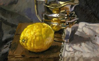 "Angie Wood, 'Silver Jug and Lemon', Oil on board, 8""x6"""
