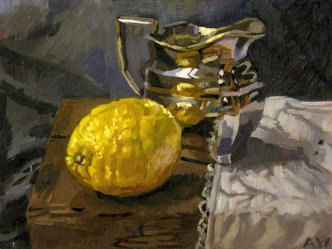 """Angie Wood, 'Silver Jug and Lemon', Oil on board, 8""""x6"""""""