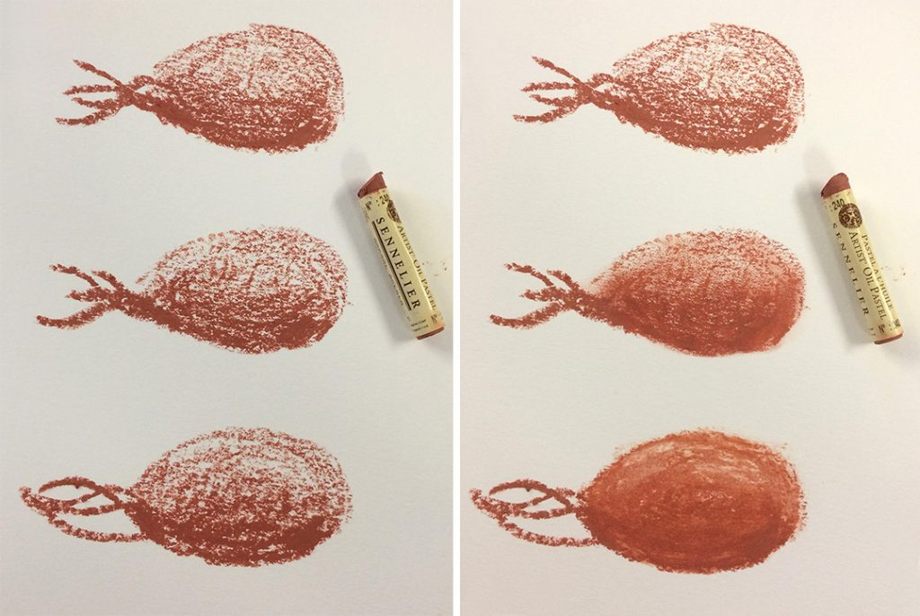 Sennelier Oil Pastel in English Light Red. Left column is unblended. Right column is: It is the softest of the three, almost like lipstick. Top: unblended Middle: finger blended Bottom: solvent blended